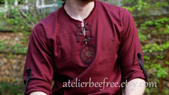 Red linen shirt vegvisir norse busole embroidery