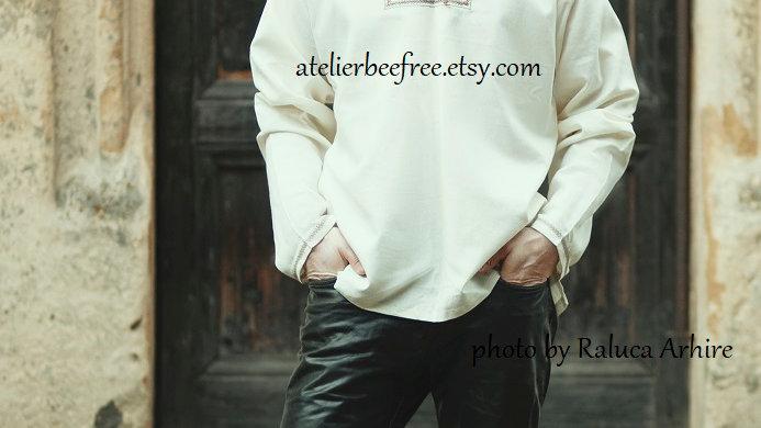 Casual linen man shirt,  wedding shirt, white summer shirt