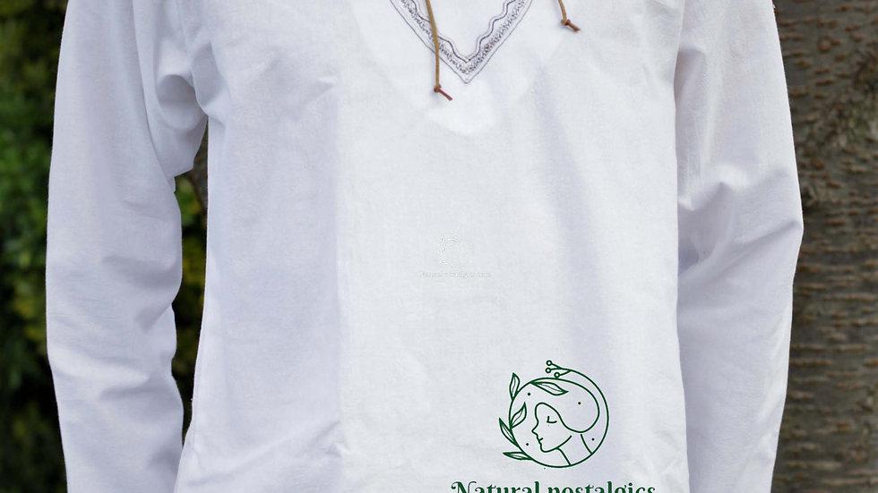 White casual men linen shirt, summer wedding long sleeve tunic .Free shipping