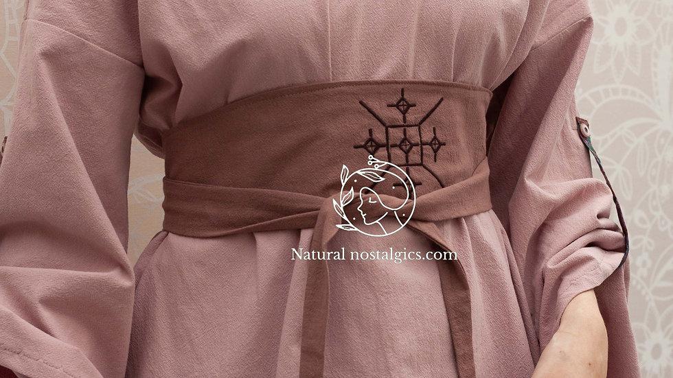 Romantic V neck summer tunic, medieval long sleeve kimono linen blouse, shield m