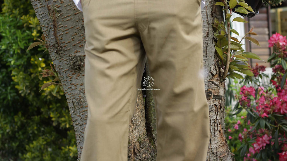 Linen men beige summer casual trousers with pockets