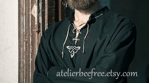 Black historical linen shirt  viking inspiration for modern days, triquetra