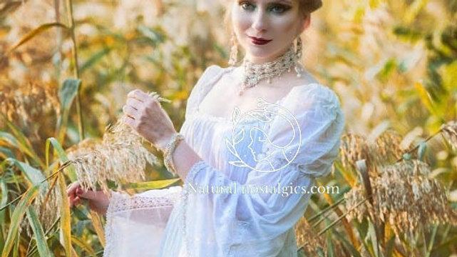 Bohemian romantic long wedding dress custom embroidered belt long sleeves, natur
