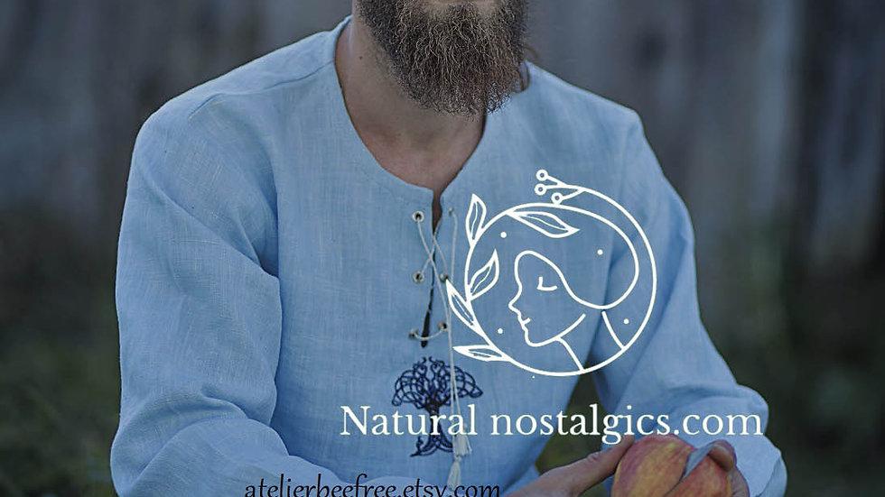Casual linen man shirt, celtic tree of life embroidery , viking wedding shirt