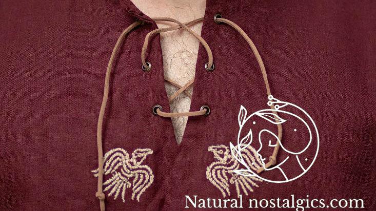 Linen shirt wine red with viking embroidery Huginn and Muninn