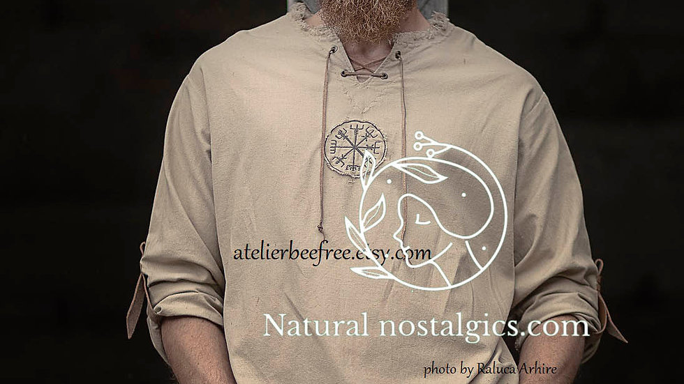 Viking men shirt with norse vegvisir embroidery,  viking busole,