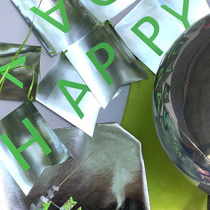 Banner HAPPY BDAY Hollografic & Green
