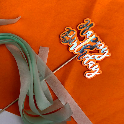 Cake Topper Holografic & Orange