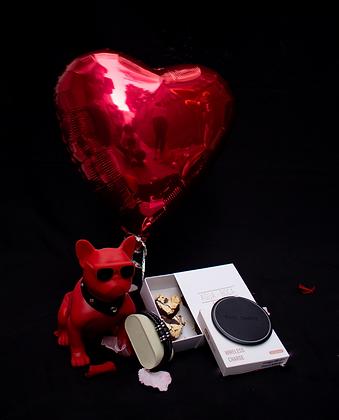 Bocina Bluetooth | Caja Brownies Corazón | Cargador  Inalambrico| Globos Corazón
