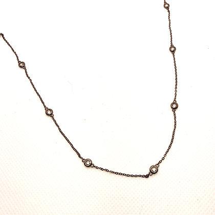 Cadena Plata Italiana Negra con Cristales Transparentes