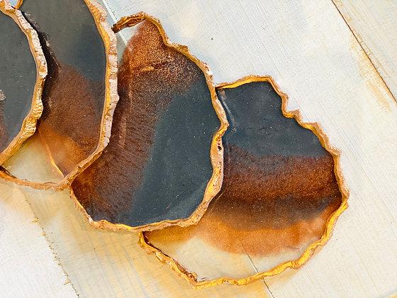 Portavasos de Resina Gris/Naranja