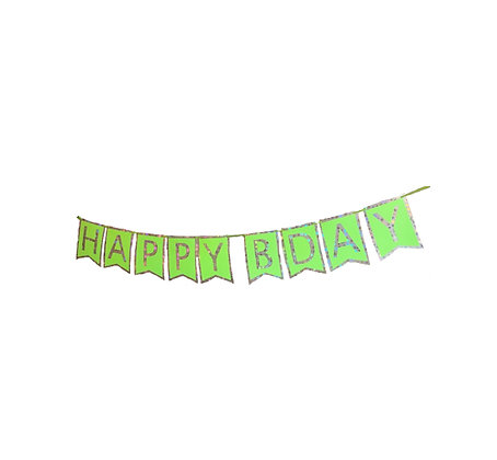 Happy Bday Banner Holografic & Green
