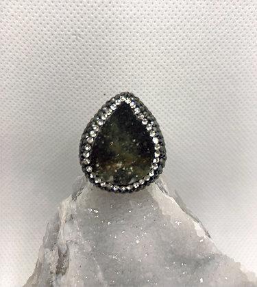anillo calcedonia cafe gota talla 7.5