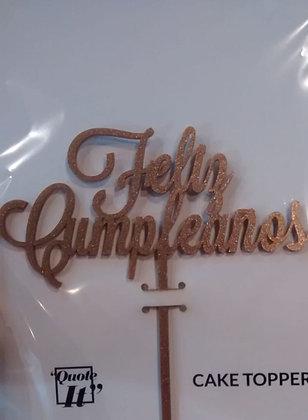 Feliz Cumpleaños Cake Topper Dorado