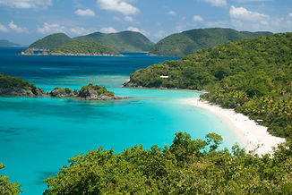 View of Trunk Bay on St John , United States Virgin Islands. Great Thatch and Jost Van Dyke of the B