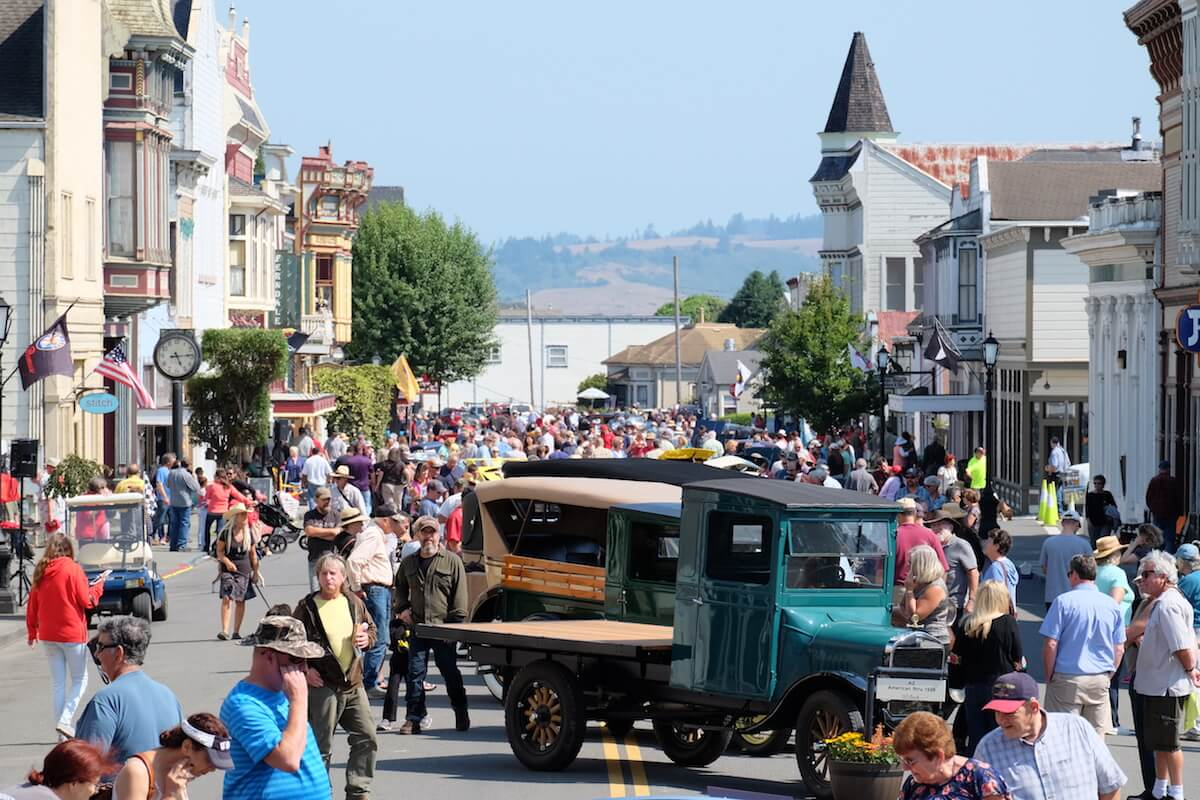 Classic cars at Ferndale Concours on Main Car Show on Historic Ferndale CA Main Street