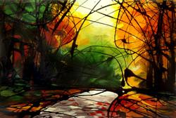 Autumn road sun