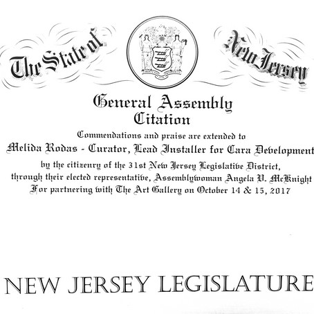 Rodas Recognized as Curator, by Assembly Woman, Angela McKnight