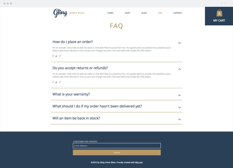 FAQ section for online urban bike business.