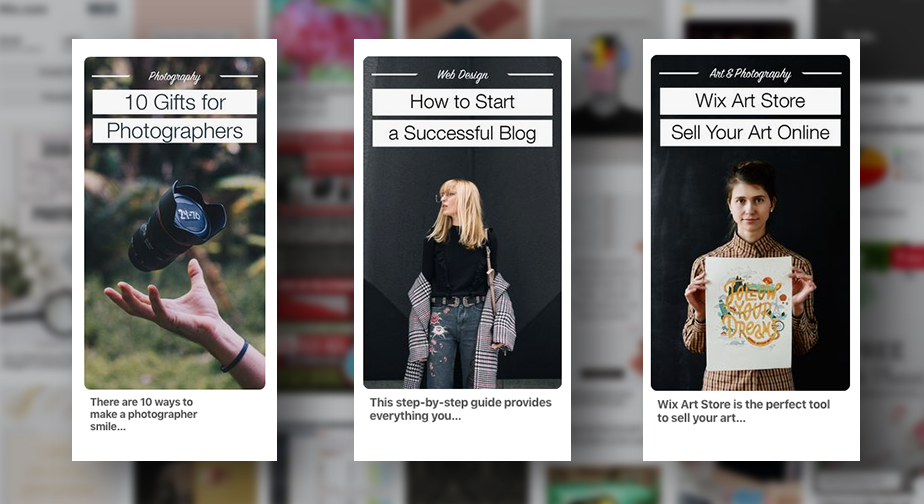 Examples of business site Pinterest pins.