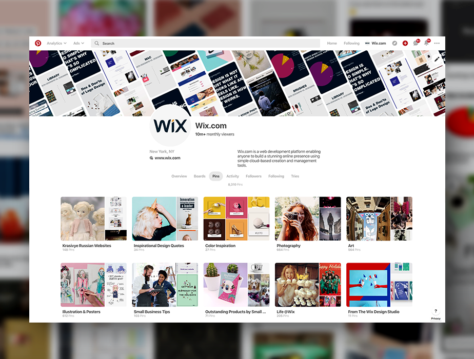 Wix.com Pinterest board.
