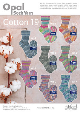 Opal Cotton 19 Collection Sock Yarn Wool Buy Purchase Delivery NZ
