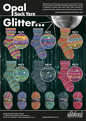 Opal Sock Yarn Wool Glitter Collection