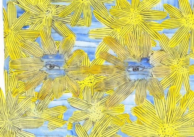 私のサングラス_和紙に墨、アクリル、コラージュ_約h17×w24cm.jpeg