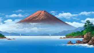 銭湯背景絵師・丸山清人 オリジナル手ぬぐい 赤富士バージョン