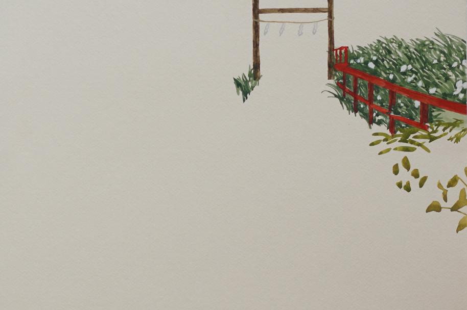 紙垂と赤い柵