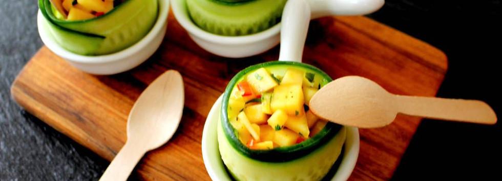 Marinerte krepsehaler med mangosalat