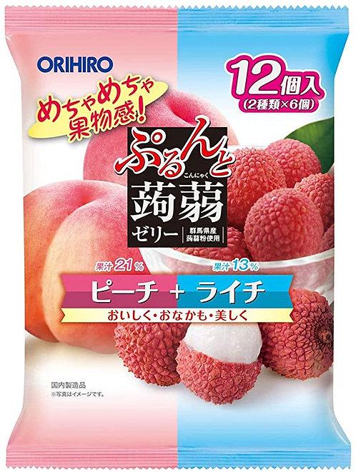 Purunto Peach + Lychee 12/240g Konnyaku Jelly ORIHIRO Pouch