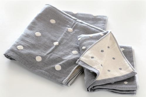 Imabari MURAKAMI Binchotan Charcoal Fibre Gauze towel Gray Dot