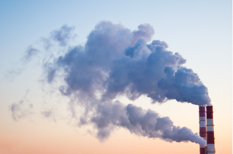 Cloud of greenhouse gas in a sunset