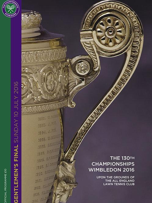 Wimbledon 2016 Gentlemen's Final Official Programme