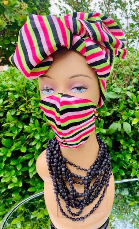 Stripe Headwrap & Mask  Set