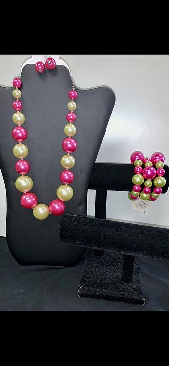 Pink & Green Large Pearl Bracelet
