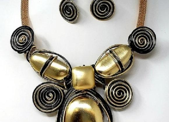Goddess Gold & Black Necklace Set