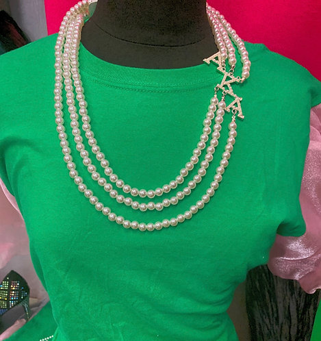 Pearl  AKA on Side 3 Strand Necklace