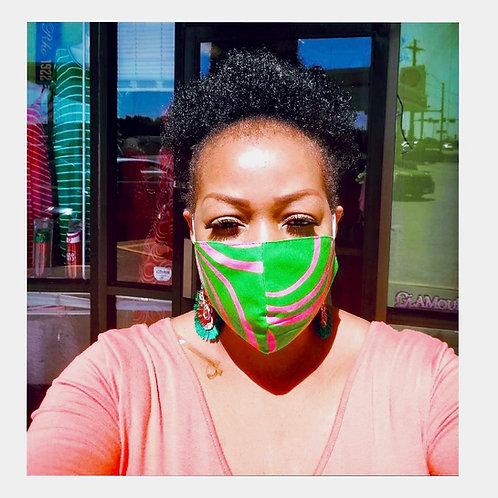 Swirl Pink & Green Mask