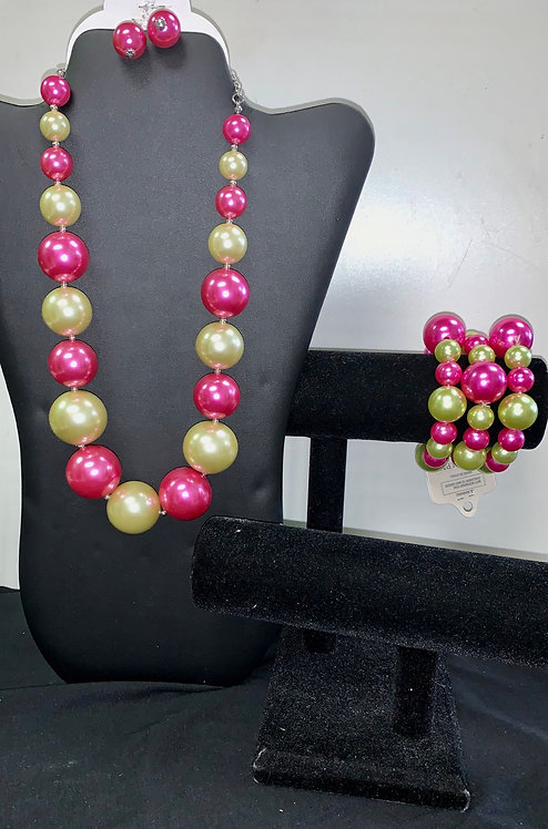 Pink & Green Large Pearl Necklace Set