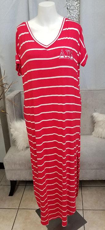 DST Stripe V-Neck Maxi Dress