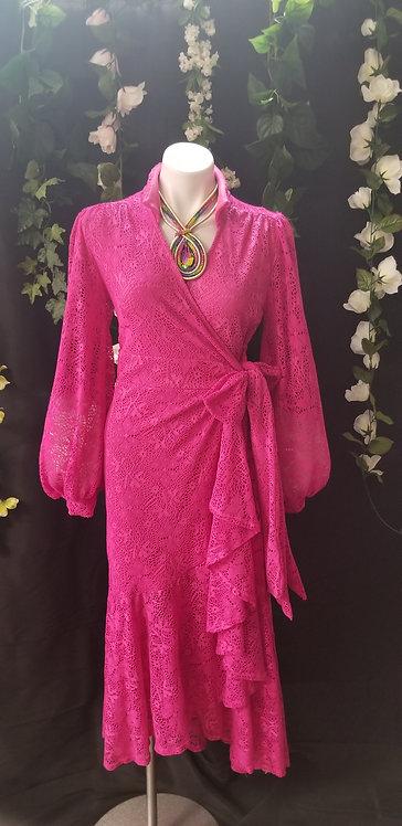 Lace Wrap Dress-Fuschia