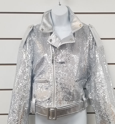 Silver Sequin&Leather Jacket