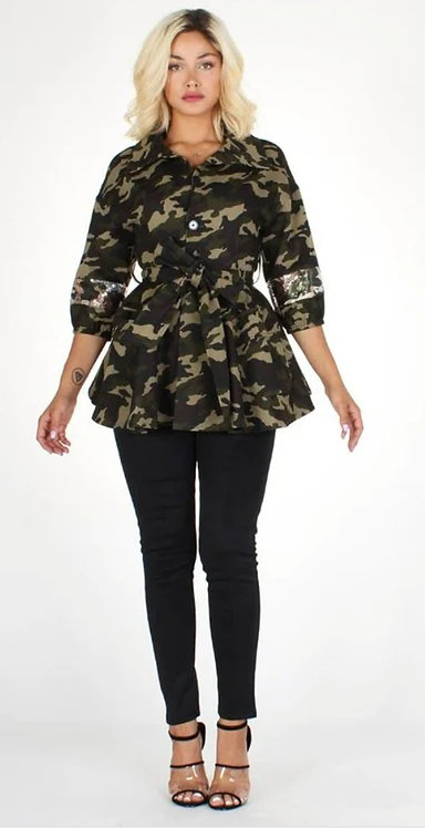 Camo & Sequin Jacket