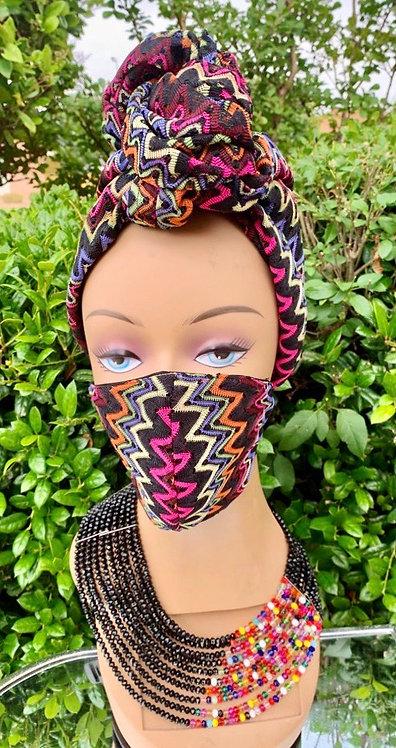 Zig Zag Headwrap & Mask Set