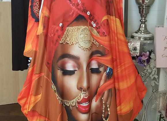 Queen Sac Dress-Shades of Orange/Red