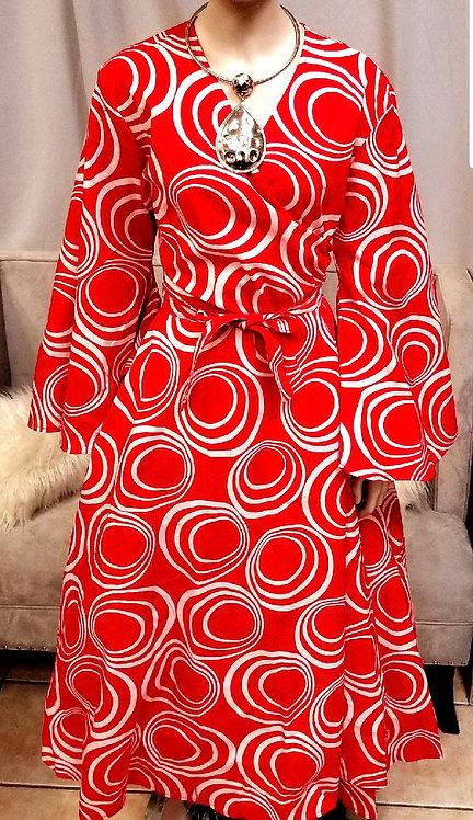 Red & White Wrap Dress