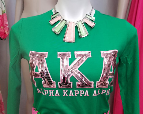 Sequin Letter L/S. -Green Tshirt