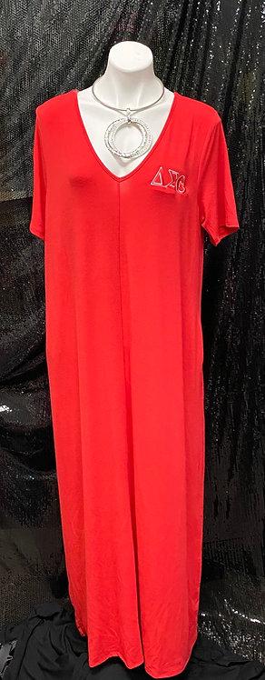 DST Short Sleeve Maxi Dress V-neck
